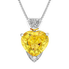 Heart Shaped Yellow Sapphire, Shield and Round Diamond Pendant (18 in.)