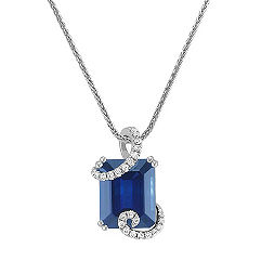 Emerald Cut Sapphire and Round Daimond Pendant (18 in.)