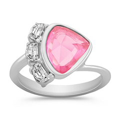 Freeform Pink Sapphire and Half Moon Diamond Ring