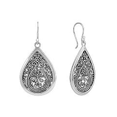 Sterling Silver Antiqued Teardrop Earrings