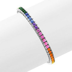Round Multi-Colored Sapphire Bracelet (7 in.)