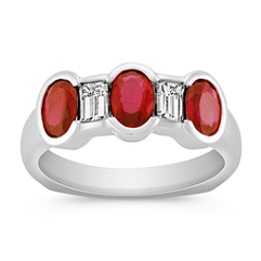 Oval Ruby and Emerald Cut Diamond Ring
