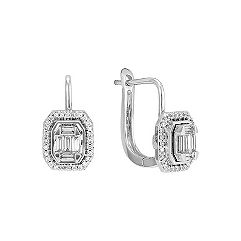 Halo Baguette and Round Diamond Earrings