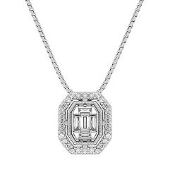 Baguette and Round Diamond Pendant (18 in.)