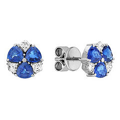 Trillion Sapphire and Modified Princess Cut Diamond Earrings