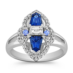 Shield Shaped Sapphire, Round Ice Blue Sapphire, Baguette and Round Diamond Ring