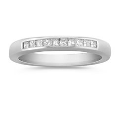 Channel Set Princess Cut Diamond Wedding Band in Platinum