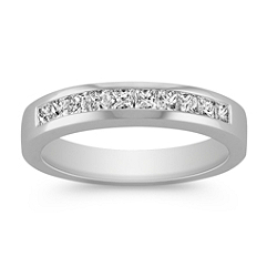 Princess Cut Channel Set Diamond Anniversary Band in Platinum