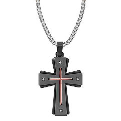 Round Diamond Cross Necklace ( 22'')