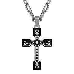 Round Diamond Cross Necklace (28 in.)