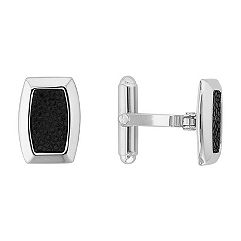 Sterling Silver and Leather Cuff Links