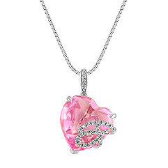 Heart Shaped Pink Sapphire and Diamond Pendant (18 in.)