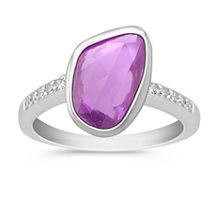 Freeform Fancy Pink Sapphire and Round Diamond Ring