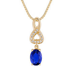 Oval Sapphire and Diamond Pendant (18 in.)