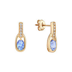 Oval Ice Blue Sapphire and Diamond Earrings