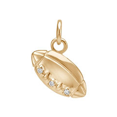 Round Diamond Football Charm