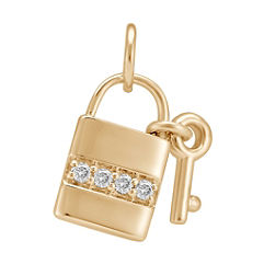Round Diamond Lock & Key Charm
