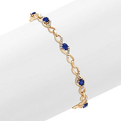 Oval Sapphire and Diamond Bracelet (7 in.)