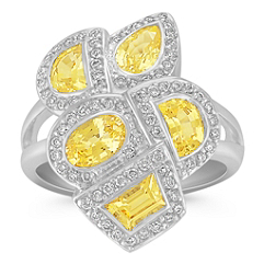 Fancy Shaped Yellow Sapphires and Round Diamond Ring