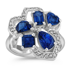 Fancy Shaped Sapphire and Round Diamond Ring