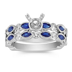 Vintage Marquise Sapphire and Round Diamond Wedding Set with Pavé Setting