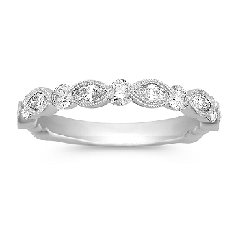 marquise and round diamond wedding band at shane co