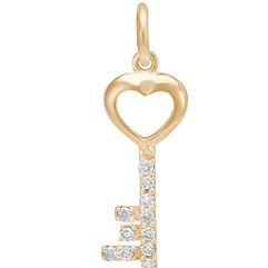 Round Diamond Key Charm