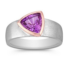 Trillon Lavender Sapphire Ring in Rose and White Gold