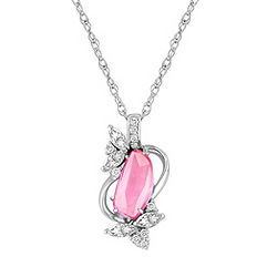 Freeform Pink Sapphire, Marquise and Round Diamond Pendant (18 in.)