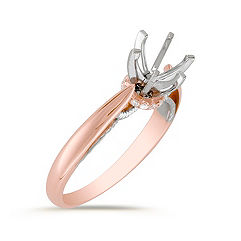 Cathedral Diamond 14k White and Rose Gold Engagement Ring
