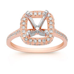 Halo Diamond Rose Gold Engagement Ring with Pave Setting
