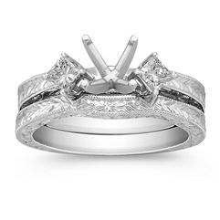 Vintage Three-Stone Princess Cut Diamond Wedding Set