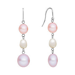 7-13mm Multi-Colored Cultured Freshwater Pearl and Sterling Silver Earrings