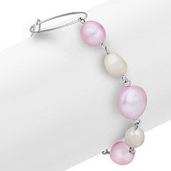 7-13mm Multi-Colored Cultured Freshwater Pearl and Sterling Silver Bracelet (7.5 in.)