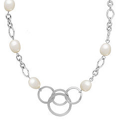 9mm Cultured Freshwater Pearl and Sterling Silver Necklace (24)