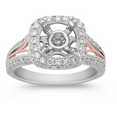 Halo Diamond 14k White and Rose Gold Engagement Ring with Pave Setting