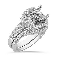 Halo Diamond Platinum Wedding Set with Pavé Setting