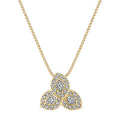 Calla Cut and Round Diamond Pendant (18 in.)