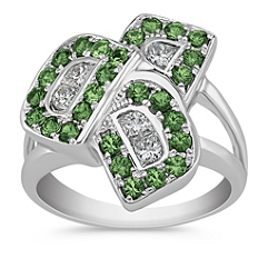 Calla Cut Diamond and Round Green Sapphire Ring