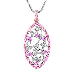 Round Pink Sapphire and Fancy Diamond Pendant in White and Rose Gold (20 in.)