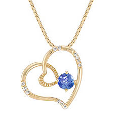 Round Kentucky Sapphire and Diamond Heart Pendant (18 in.)