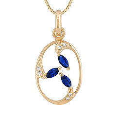 Marquise Sapphire and Diamond Pendant (18 in.)