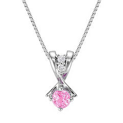 Round Pink Sapphire and Diamond Three-Stone Pendant (18 in.)
