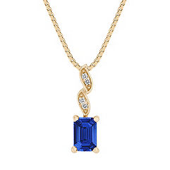 Emerald Cut Sapphire and Diamond Pendant (18 in.)