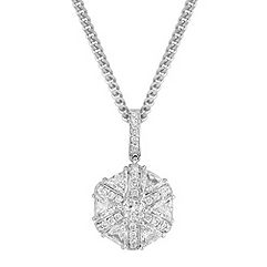 Round and Trillion Diamond Pendant (18 in.)