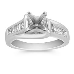 Cathedral Princess Cut Engagement Ring with Channel Setting