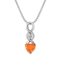 Heart Shaped Orange Sapphire and Round Diamond Pendant (18 in.)