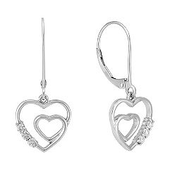 Round Diamond Heart Earrings