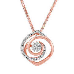 White and Rose Gold Diamond Pendant (18 in.)