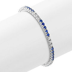 Round Sapphire and Diamond Tennis Bracelet (7 in.)